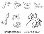 hand drawn decorative curls and ... | Shutterstock .eps vector #381765460