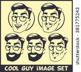 bearded hipster cool logos sign ... | Shutterstock .eps vector #381775243
