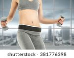 woman and interior space of gym ... | Shutterstock . vector #381776398