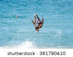 unknown man wakeboarding in the ... | Shutterstock . vector #381780610