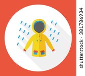 weather raining raincoat flat...   Shutterstock .eps vector #381786934