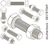 screw bolt nut  | Shutterstock .eps vector #381787069