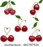 cherry. set of cherries  a...   Shutterstock .eps vector #381787924