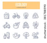 doodle line icons of ecology ... | Shutterstock .eps vector #381788590