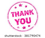 thank you on pink grunge rubber ... | Shutterstock . vector #381790474