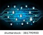 social media network concept... | Shutterstock .eps vector #381790900
