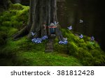 fantasy tree house of a forest... | Shutterstock . vector #381812428