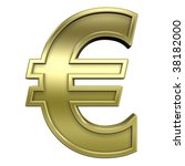 Euro sign from shiny gold with gold frame alphabet set, isolated on white. Computer generated 3D photo rendering. - stock photo