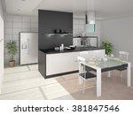 modern design cozy spacious... | Shutterstock . vector #381847546