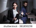 dressed in suits businesswoman... | Shutterstock . vector #381850258