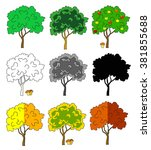 season trees collection  | Shutterstock .eps vector #381855688