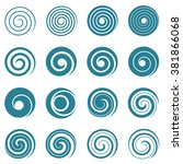 Set Of Blue Spirals  Vector...