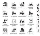 auto insurance icons  | Shutterstock .eps vector #381869734