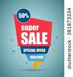super sale paper banner.... | Shutterstock .eps vector #381873334