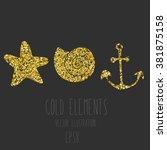 vector gold glitter star  shell ... | Shutterstock .eps vector #381875158