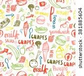 kids menu seamless pattern....   Shutterstock .eps vector #381885604