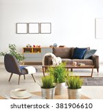 modern living room sofa and... | Shutterstock . vector #381906610
