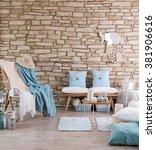 brick wall lounge chair blue... | Shutterstock . vector #381906616