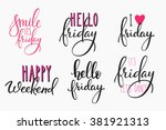hello friday lettering sign... | Shutterstock .eps vector #381921313
