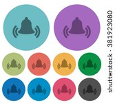 color ringing bell flat icon...