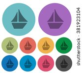 color sailboat flat icon set on ...
