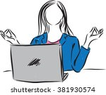 woman working and meditating... | Shutterstock .eps vector #381930574