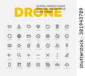 drone icons. set of 35 flat... | Shutterstock .eps vector #381943789