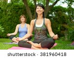 two mature women keeping fit by ... | Shutterstock . vector #381960418