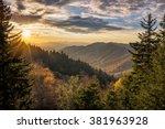 autumn sunrise over newfound... | Shutterstock . vector #381963928