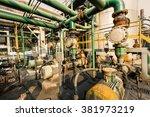 old industrial pipeline... | Shutterstock . vector #381973219