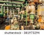 old industrial pipeline... | Shutterstock . vector #381973294