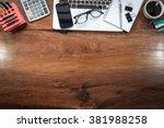 Laptop On Vintage Wooden...