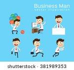 set of businessman activities   ... | Shutterstock .eps vector #381989353