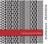 set of seven seamless geometric ... | Shutterstock .eps vector #382033036
