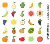 fruits vector. icons set. | Shutterstock .eps vector #382036300