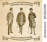 vintage hand drawn gentlemen...   Shutterstock .eps vector #382062388