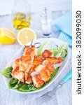 salmon kebab | Shutterstock . vector #382099030
