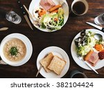 hotel breakfast   soft boiled... | Shutterstock . vector #382104424
