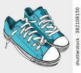 blue sneaker on light gray... | Shutterstock .eps vector #382108150