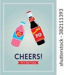 cheers beer bottle best friends ... | Shutterstock .eps vector #382111393