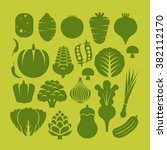 vegetables icons in flat green ... | Shutterstock .eps vector #382112170