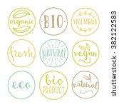 set of food badges. bio ... | Shutterstock .eps vector #382122583