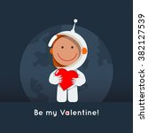 cute flat style astronaut with... | Shutterstock .eps vector #382127539