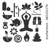 set ayurveda icons. vector... | Shutterstock .eps vector #382131178