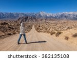 a woman photographer taking... | Shutterstock . vector #382135108
