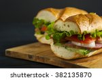 two delicious sandwiches with... | Shutterstock . vector #382135870