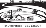 extraction of ore from open pit ... | Shutterstock .eps vector #382136074