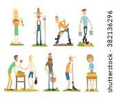 summer farm activities. flat... | Shutterstock .eps vector #382136296