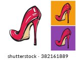 Red Female Shoes With High...