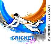 illustration of player fielding ... | Shutterstock .eps vector #382173259